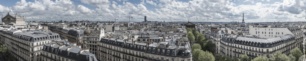 Panorama de Paris prise des terrasses du Printemps Haussmann Panorama Réf : mgui20130120_panorama paris – format 82x400